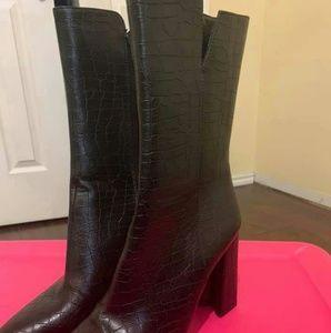 Faux croc boots